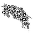 costa rica map composition of soccer spheres vector image vector image
