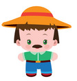 cute farmer with big hat and mustache flat vector image vector image