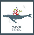 cute summer card with whale vector image vector image