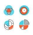 diagrams color icons set data graphic vector image