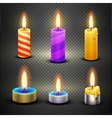 Different candles with flame set isolated vector image