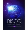 disco party flyer templatr with mirror ball and vector image vector image
