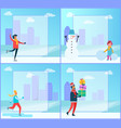 figure-skating and cityscape vector image vector image