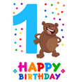 first birthday cartoon greeting card design vector image
