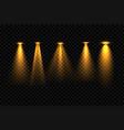 five golden focus spotlight effect background vector image