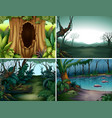 four forest scenes with trees and river vector image vector image