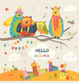 funny owls on autumn branch vector image vector image