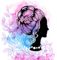 girl on watercolor background vector image