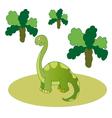 Green long necked dinosaur vector image vector image
