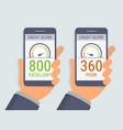 hands holding smartphones with credit score app vector image