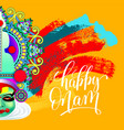 happy onam greeting card with indian kathakali vector image vector image