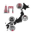 japan map landmark tourism icons vector image vector image