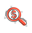 magnify glass with dollar sign icon in comic vector image vector image
