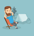man sitting in folding chair in the camp vector image vector image