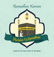 marhaban ya ramadhan with muslim man praying and h vector image vector image