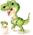 mother and baby dinosaur hatching vector image vector image