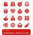 national pecan day icon set vector image