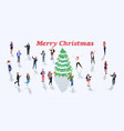 people celebrating merry christmas happy new year vector image vector image