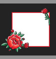 photo frame design with drawn red roses vector image