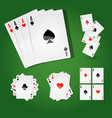 playing cards with four aces and standard suits vector image