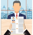 Recruiters hands holding cv in office vector image vector image