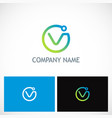 round letter v technology logo vector image vector image