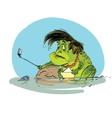 Sad toad selfie smartphone vector image vector image