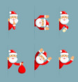 santa claus secret flashlight peeking out corner vector image vector image