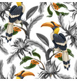 seamless pattern with birds and tropical leaves vector image vector image