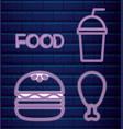 set fast food neon light label vector image vector image