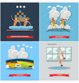 set of winter and water sports concept flat vector image