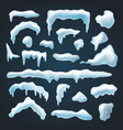 set snow caps snowdrifts various shapes vector image