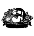 skull hipster silhouette with mustache vector image