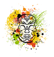skull with splashes in watercolor style vector image
