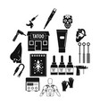 tattoo parlor icons set simple style vector image