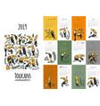 toucans calendar 2019 design vector image vector image