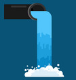water pouring from pipe flow of clean water vector image vector image