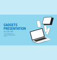 web page with 3d mockups gadgets vector image