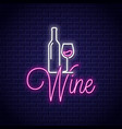 wine neon banner bottle and wine glass neon sign vector image vector image