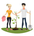 woman and man planting a tree vector image vector image