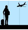 woman in airport vector image
