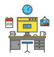 working computer desk vector image vector image