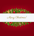 xmas card with fir tree and white banner vector image vector image