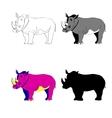 Image rhino line silhouette vector image