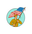 american soldier waving usa flag circle drawing vector image