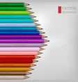 arrow shape of rainbow colored pencils on white vector image