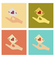 assembly flat icons poker hand playing cards vector image vector image
