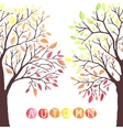 Autumn trees with falling down leaves vector image