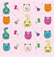 background kittens on pink background vector image vector image