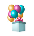 balloons and gift box vector image vector image